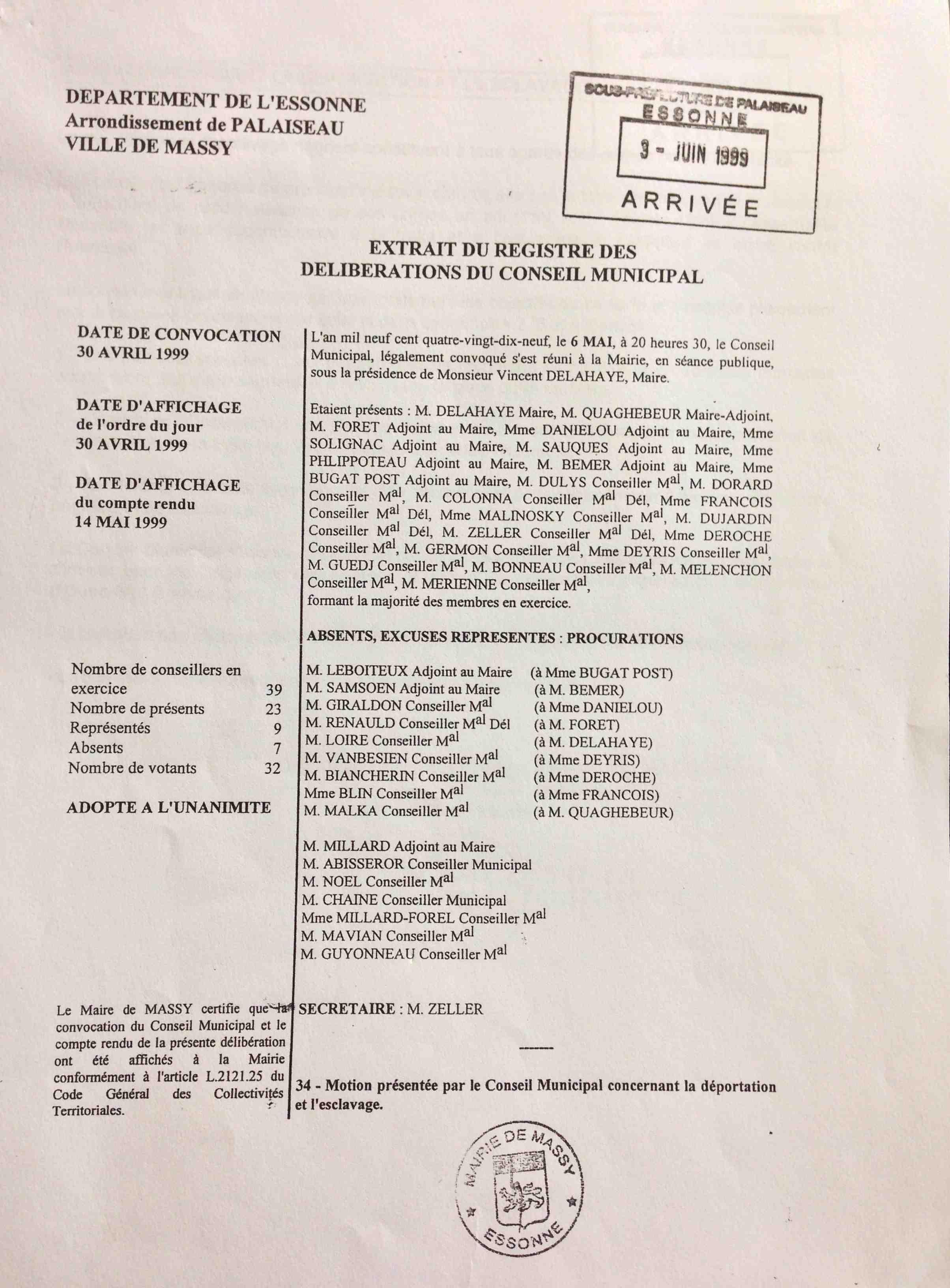deliberation du conseil municipal du 6 mai 1999 - 1